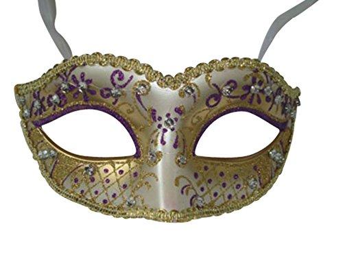 (Mask & Co Quality Women's Glittering Venetian Masquerade Party Ball Eye Prom Carnival Mask (Purple Gold))