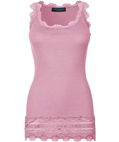 3d7d486b8f51f6 Rosemunde Women's Silk Lace Hem Sleeveless Top M Rose