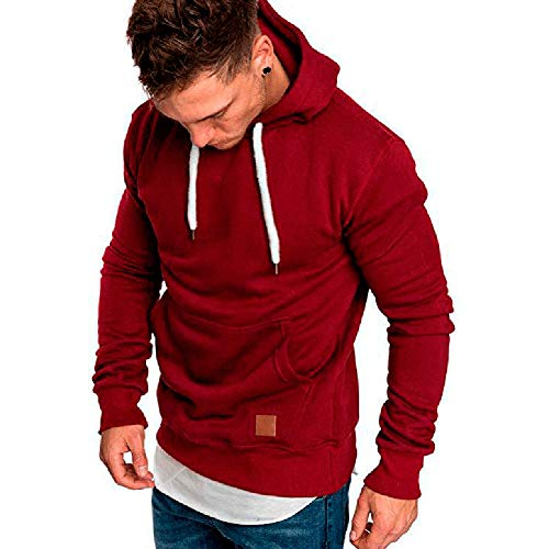 Mens Fashion Athletic Casual Hoodies – Long Sleeves Loose Fit Solid Color Sweatshirt With Kangaroo Pocket Red