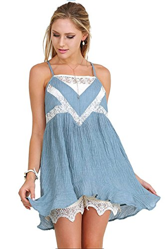 Umgee Sleeveless Tunic with Lace Details Boho Chic (Large, Misty Blue) (Lace Detail Tunic)