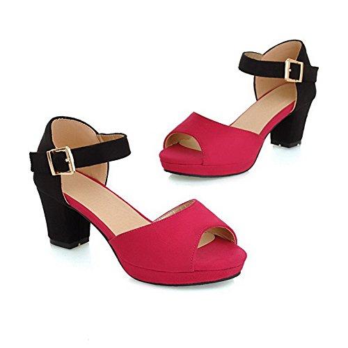 AgooLar Mujeres Hebilla Tacón ancho Sintético Colores Surtidos Puntera Abierta Sandalia Rojo