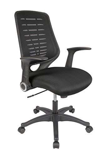 LONGEM Mid-Back Mesh Office Chair - Breathable Computer Desk Task Chair with Flip-up Arms