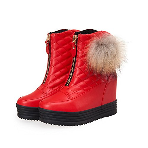 AllhqFashion Womens High Heels Soft Material Solid Zipper Round Closed Toe Boots Red YqAxxT1