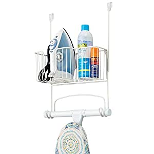 mDesign Metal Over The Door Ironing Board Holder with Large Storage Basket - Holds Iron, Board, Spray Bottles, Starch, Fabric Refresher Iron for Laundry Rooms - White