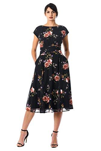 eShakti Women's Floral Print Pleated Empire Georgette Dress XL-16 Tall Black Multi (Pleated Georgette)