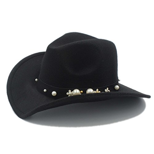 JILAN HOME- Mode Femmes Chapeu Western Cowboy Hat pour élégante Lady Cowgirl Wide Brim Jazz Church Cap