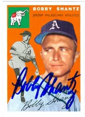 Autograph 120814 Philadelphia Athletics 1994 1954 Topps Archives No. 21 Bobby Shantz Autographed Baseball Card (Bobby Shantz Autographed Baseball)