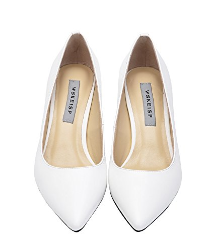 WSKEISP Women's Classic Pointed-Toe Slip On Genuine Sheep Leather 2.55 inch Heel Pumps Shoes White cheap 2014 newest pay with visa cheap price bUzWApVe