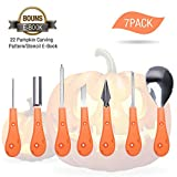 Pumpkin Carving Kit,7 PCS Heavy Duty Stainless Steel Pumpkin Carving Tools Set with 22 Patterns (print yourself), Easily Carve Sculpt Halloween decoration, the Best Halloween Gifts