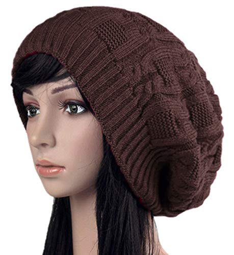 YnimioAOX Unisex Winter Cable Knit Beanie-Thick, Warm Earmuffs Slouchy Hat Chunky Cap Button Strap Cap (Coffee) -