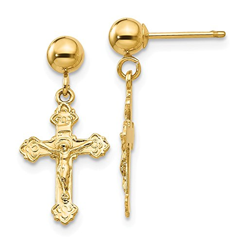 14k Yellow Gold Crucifix Cross Religious Post Stud Earrings Drop Dangle Fine Jewelry Gifts For Women For Her ()