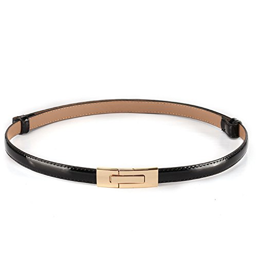 AUUOCC belt women classic thin belts Genuine Leather Female Belts for Women Pin Buckle women's belt Smooth Surface RS256 black 96cm -