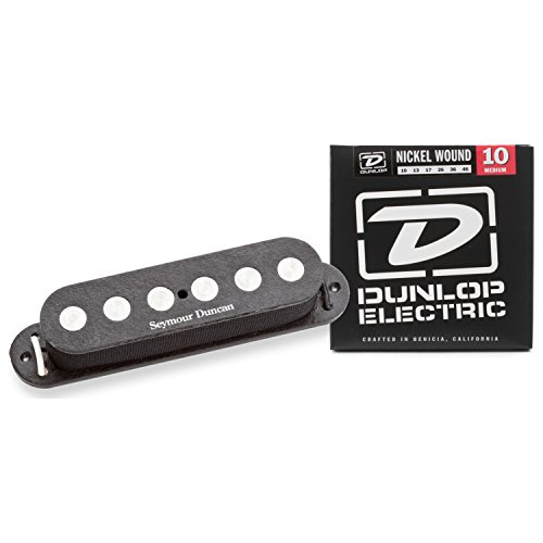 Seymour Duncan 11202-03 SSL-4 Qtr Pound Flat Pickup for Strat Black w/ (Oval Guitar Cable)