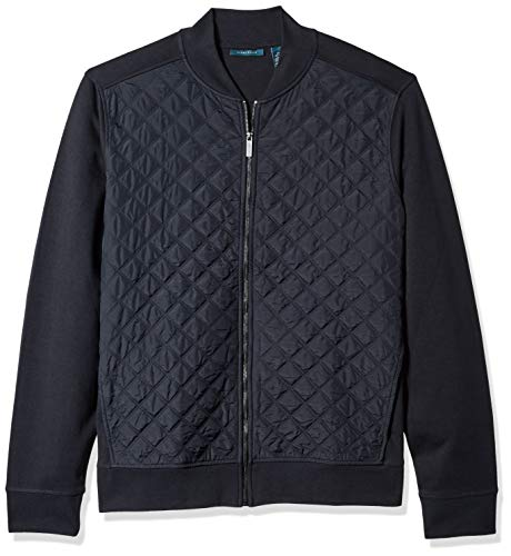 Perry Ellis Men's Big and Tall Quilted Nylon Full Zip Jacket, Dark Sapphire, Large