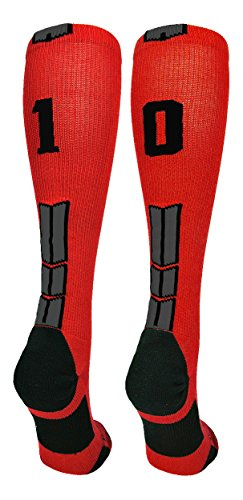 MadSportsStuff Red/Black Player Id Over The Calf Number Socks (#10, Small)