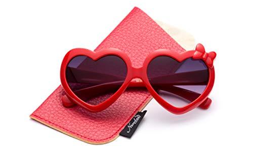 (Kids Girls Heart Sunglasses w/Bow Cute Heart Shaped Sunglasses for Girls w/Pouch)