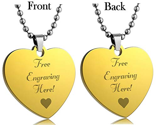Interway Trading Personalized Regular Size Custom Message Engraved Stainless Steel Necklace Dog Tag Pendant with 24 inch Chain,Velvet Giftpouch and Keyring (Heart Yellow)