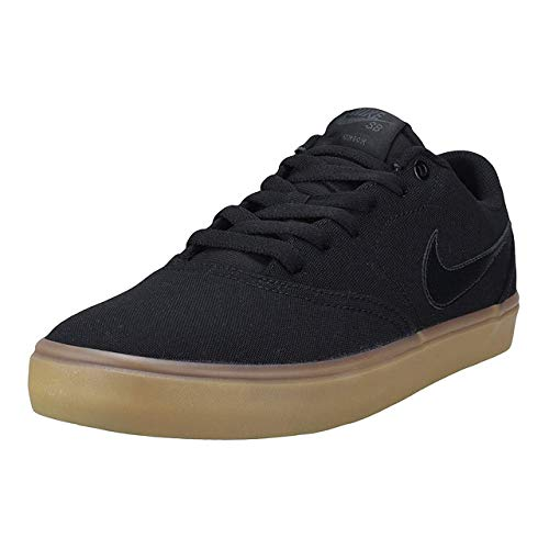 Nike Men's SB Check Solarsoft Canvas Skateboarding Shoes Black/Black-Gum Light Brown 10.5 ()