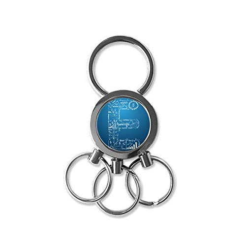 Simple Work Brainstorm Data Curve Illustration Metal Key Chain Ring Car Keychain Creative Trinket Keyring Novelty Item Best Charm Gift