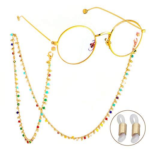 Colorful Beaded Eye Glasses String, Elegant Eyeglasses Sunglasses Chain Eyewear Retainer Around Neck for Women, Reading Eyeglass Strap, Eye Glasses String with 2 Silicone Anti-Slip Link ()
