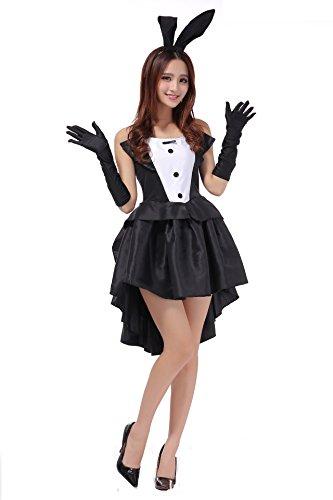 TeeNoke Women Girl Cosplay Costume Dress Bunny Tux Tail with Ear Headband -