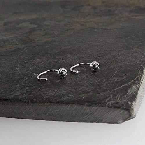 Silver Open Hoop Hug Hugging Earrings Hematite Stone 3mm