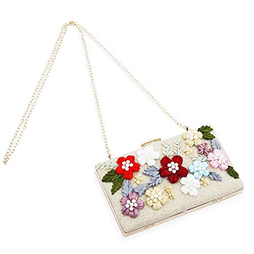 Womens Evening Clutch Bag Designer Evening Handbag,Lady Party Clutch Purse, Great Gift Choice (Gold-Embroidery small square) ()