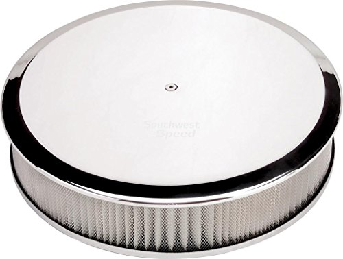 """NEW BILLET SPECIALTIES POLISHED ALUMINUM, LARGE ROUND AIR CLEANER ASSEMBLY, 14"""" DIAMETER X 3"""" TALL WITH K&N LIFETIME FILTER ELEMENT & STAINLESS STEEL HARDWARE"""