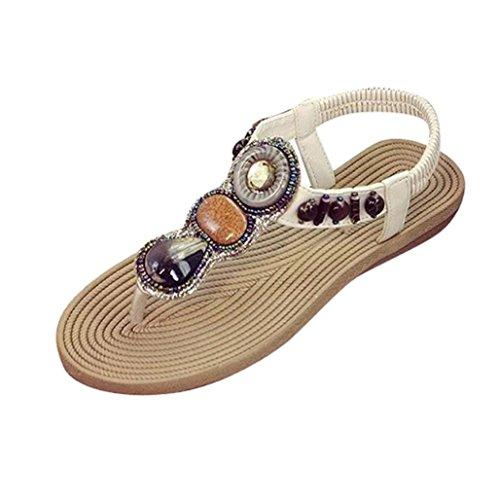 Komfortable Kvinners Gemstone Hvit Sandals Damene Fritids Flate Kata Sommer Sandaler Sko nxqf0Iga5