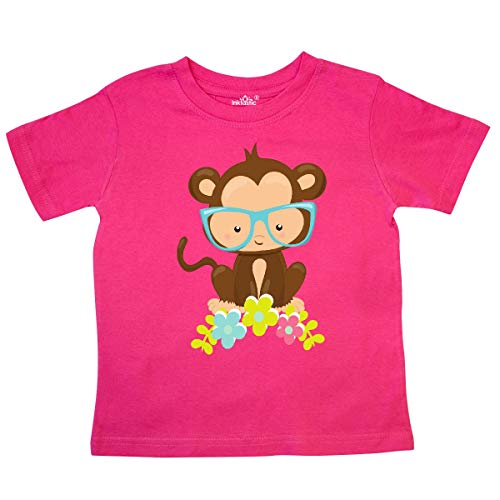 inktastic - Cute Monkey with Eyeglasses, Toddler T-Shirt 3T Hot Pink 35a72