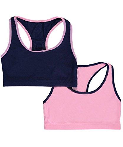"Price comparison product image RBX Big Girls' ""Back Logo"" 2-Pack Microfiber Sports Bras - pink/navy, 10"