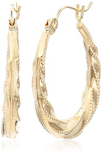 14k Yellow Gold Swirl Hoop Earrings