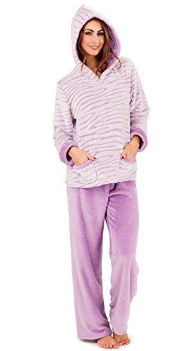 Tiger Stripes Purple Design (Ladies Womens Lilac Purple Tiger Stripe Design Fleece Twosie Lounge Suit Pyjammas Medium 12 to 14)
