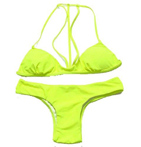 TAOZHN Bikini Femenino S M L Deportes Acuáticos Playa Fitness De Secado Rápido Del Bikini De Alta Calidad Apretado Traje De Baño Yellow