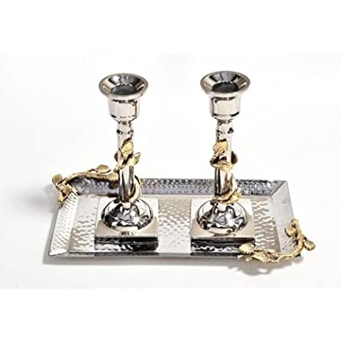 Topaz® Hammered Stainless Steel Set of 2 Candle Holders with Matching Tray, Decorated with Exquisite Brass Flowers and Stems