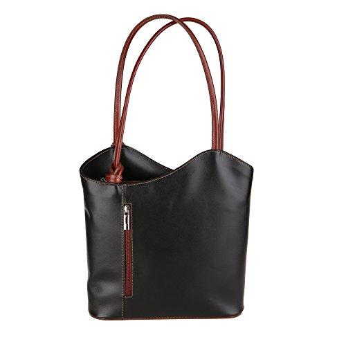 Pelle Italy Shoulder Borse Made Donna Chicca In Vera Marrone 28x30x9 Cm Da Spalla Bag Borsa A Nero w7q5vq
