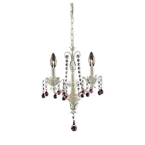 ELK Lighting 4040/3 Chandelier One Size White Antique White Elise Crystal