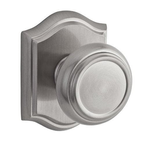 (Baldwin PS.TRA.TAR Traditional Passage Knobset with Traditional Arch Rose, Satin Nickel)