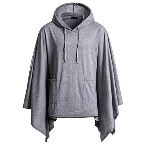 Men's Pullover Hooded Sweatshirt, Men's Poncho Cape Hoodie Fashion Coat Cardigan Pullover Cloak ()