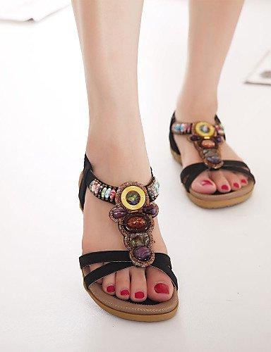 ShangYi Sandaletten für Damen Damenschuhe - Sandalen - Outddor / Kleid / Lässig - Kunstleder - Flacher Absatz - Zehenfrei - Schwarz / Mandelfarben almond
