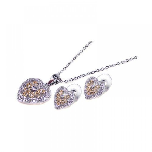 - Exquisite Sterling Silver Rhodium Plated Multi Colored Heart CZ Stud Earring Dangling Necklace Set