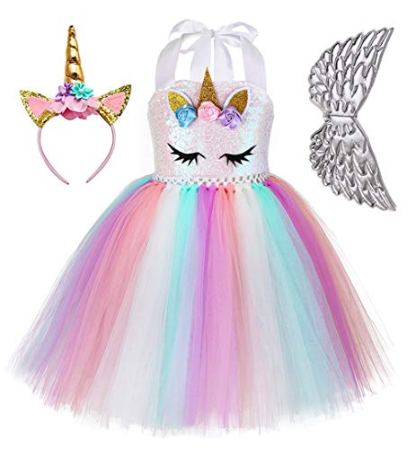 Tutu Dreams Unicorn Outfit for Baby Girls Silver Wings Rainbow Tutu Dress 1st Birthday Party (Unicorn Dress+Silver Wings, Small(1-2 Years))