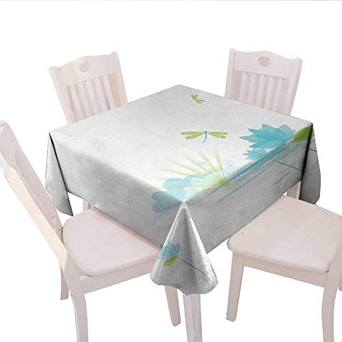 Plaid Dragonfly - haommhome Dragonfly Plaid Tablecloth Waterlily and Dragonfly Nature Background Clouds Lake Sun Design Wedding Banquet Tablecloth 70