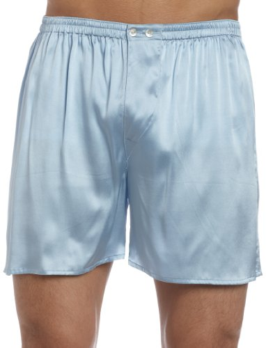 Intimo Men's Classic Stretch Silk Boxers, Periwinkle, ()
