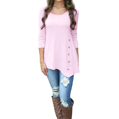 Women Tops, Gillberry Women Plus Size Long Sleeve Loose Button Blouse Solid Round Neck Tunic T-Shirt (XL, Pink)