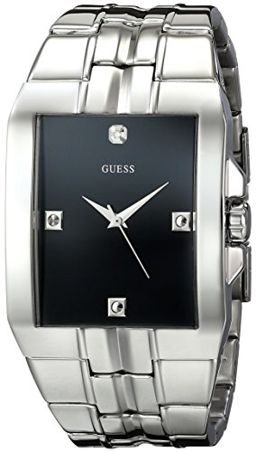 GUESS Men's U10014G1 Dressy Silver-Tone Stainless Steel Watch with Analog Dial and Deployment Buckle