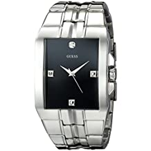 GUESS Men's U10014G1 Dressy Silver-Tone Rectangular Diamond Accented Dress Watch