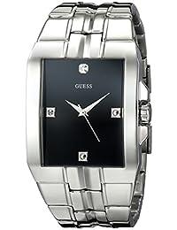 GUESS Men's U10014G1 Dressy Silver-Tone Rectangular Diamond Accented Dress Watch