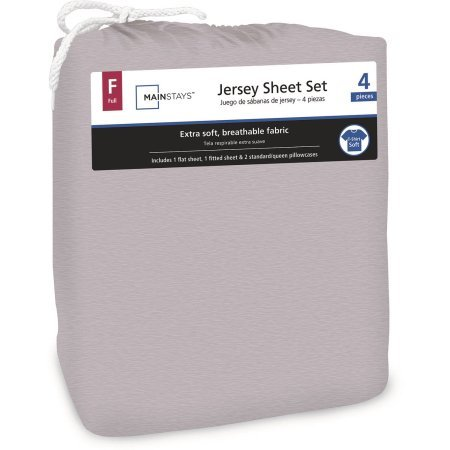 Price comparison product image Mainstays Jersey Knit Sheet Set Grey, Queen