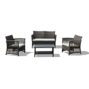 Lourde Living Silver Collection Tuvalu 4 Piece Rattan Wicker and Steel Outdoor Patio Furniture Conversation Set, Brown